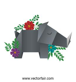 rhino origami paper with floral decoration