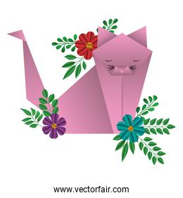 cat origami paper with floral decoration