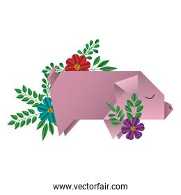 pig origami paper with floral decoration