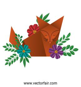fox origami paper with floral decoration