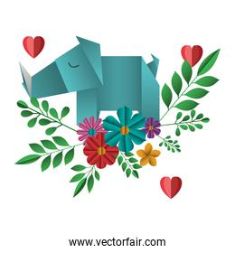 rhino origami paper with floral decoration and hearts