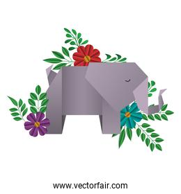 elephant origami paper with floral decoration