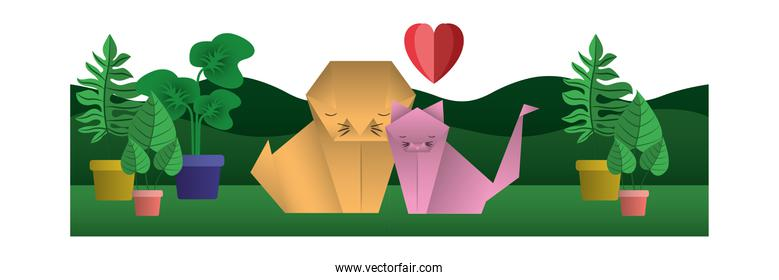 cats couple origami paper with heart in field