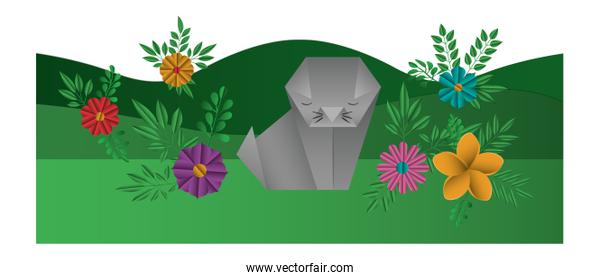cat origami paper in the field