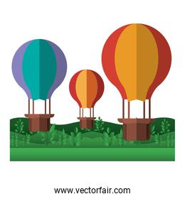 landscape with balloons air hot flying