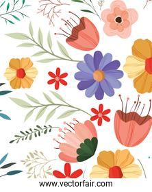 flower and leaves decorative pattern