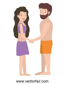 young couple with swimsuit avatars characters