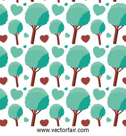 tree plant and hearts isometric pattern background