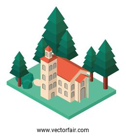 school building with landscape isometric icon
