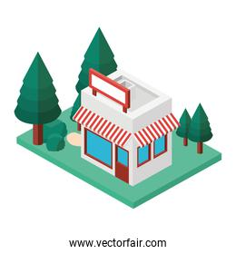 store building exterior with landscape isometric
