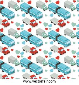 truck and bus transport isometric pattern