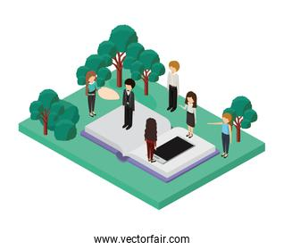 book school with camp and businesspeople isometric