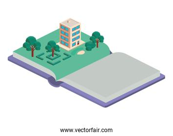 book school with field and building isometric