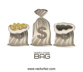 illustration of icons of money illustration of money bags vector
