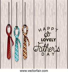 happy fathers day card with elegant ties