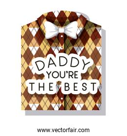happy fathers day card with elegant shirt and bowtie