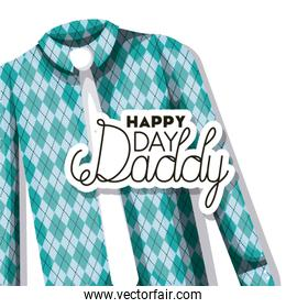 happy fathers day card with elegant shirt and tie