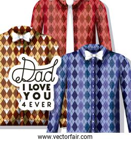 happy fathers day card with elegant shirts