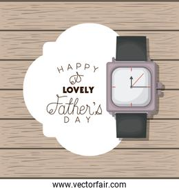 happy fathers day card with wristwatch
