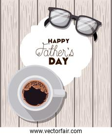 happy fathers day card with glasses