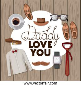 happy fathers day card with set accessories