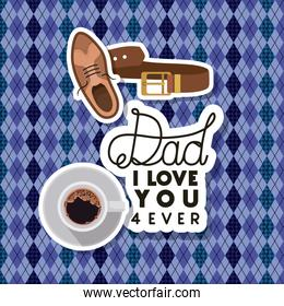 fathers day card with set accessories over textile background