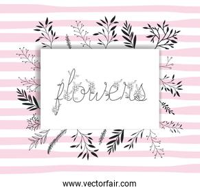 flowers word with handmade font and floral decoration