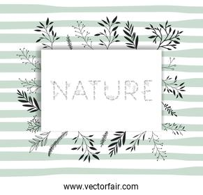 nature word with handmade font and floral decoration