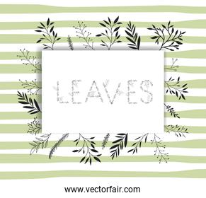 leaves word with handmade font and floral decoration