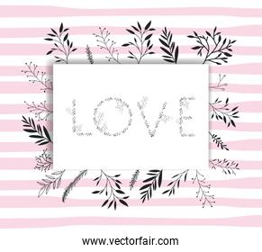 love word with handmade font and floral decoration