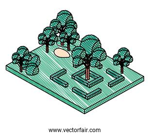 trees plants in the park scene isometric