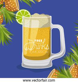 free drink in glass label