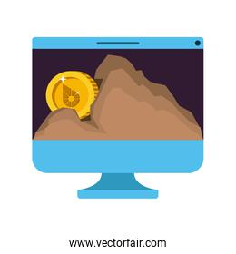 computer with biteshares money in mountain mining