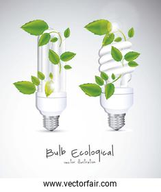 Illustration of eco bulb surrounded by plants and leaves vector