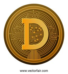cryptocurrency dogecoin coin with circuit lines
