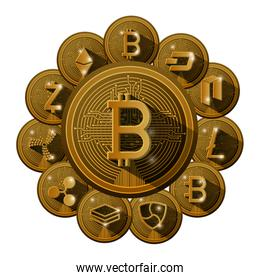 cryptocurrency set coins around