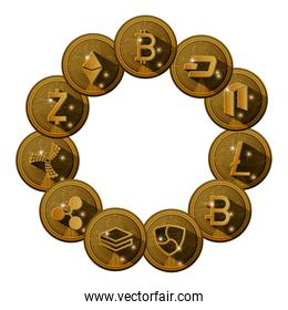 cryptocurrency set coins icons