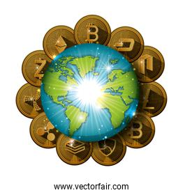 cryptocurrency set coins around the planet