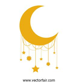 moon crescent with stars hanging