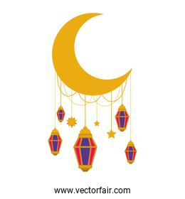moon crescent with lamps hanging