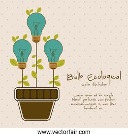 Illustration of bulb surrounded by plants and leaves vector illu
