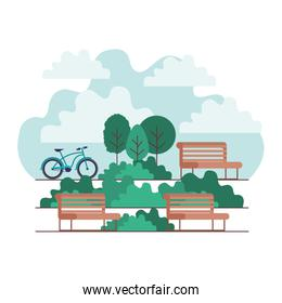 park with chair and bicycle scene