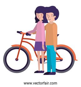 young couple with bicycle avatars characters