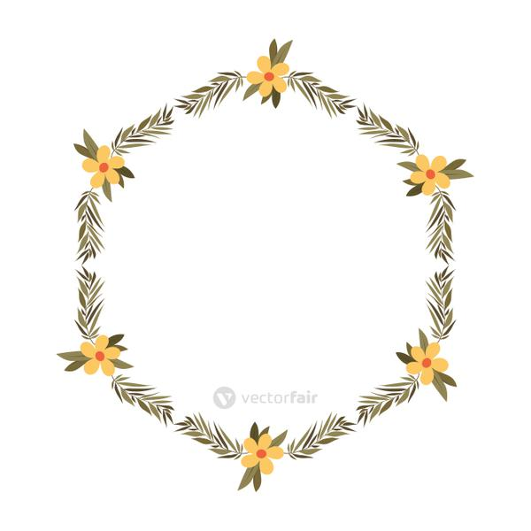 beautiful flower and leafs frame