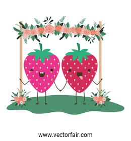 cute strawberries in couple in the garden kawaii characters