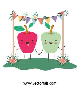 cute apples couple in the garden kawaii characters