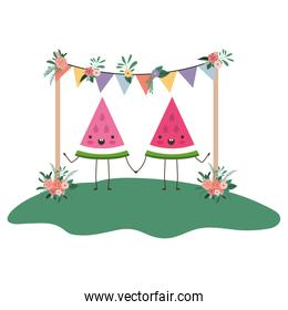 cute watermelons couple in the garden kawaii characters