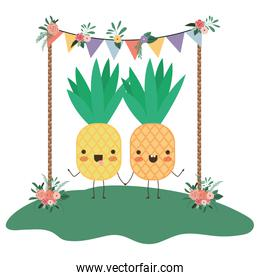 cute pineapples in couple in the garden kawaii characters