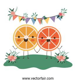 cute oranges couple in the garden kawaii characters