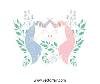 cute unicorns kissing with flowers characters